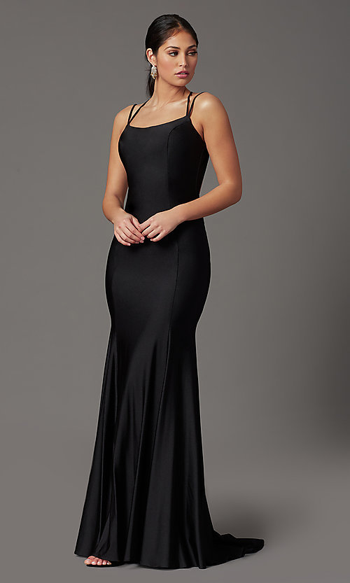 Image of long prom dress with corset open back. Style: NA-C301 Detail Image 6
