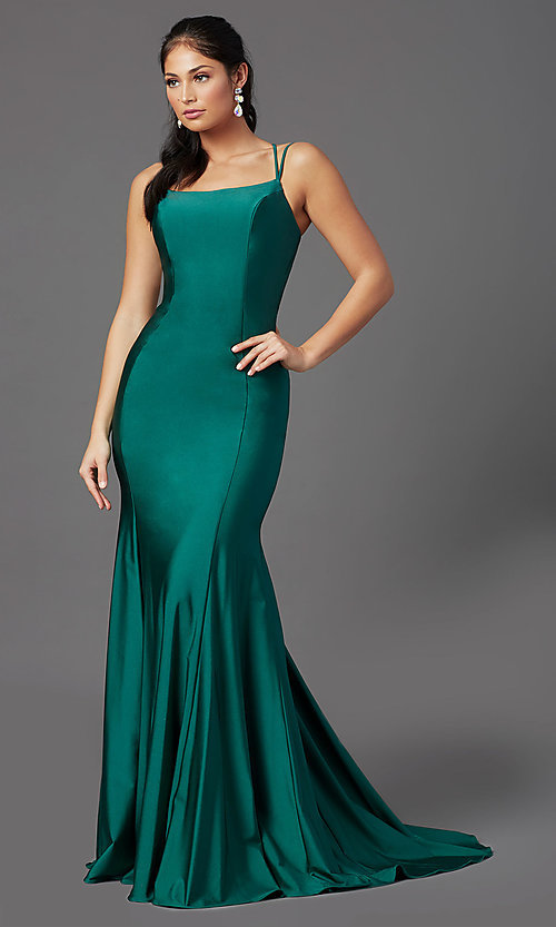 Image of long prom dress with corset open back. Style: NA-C301 Detail Image 2