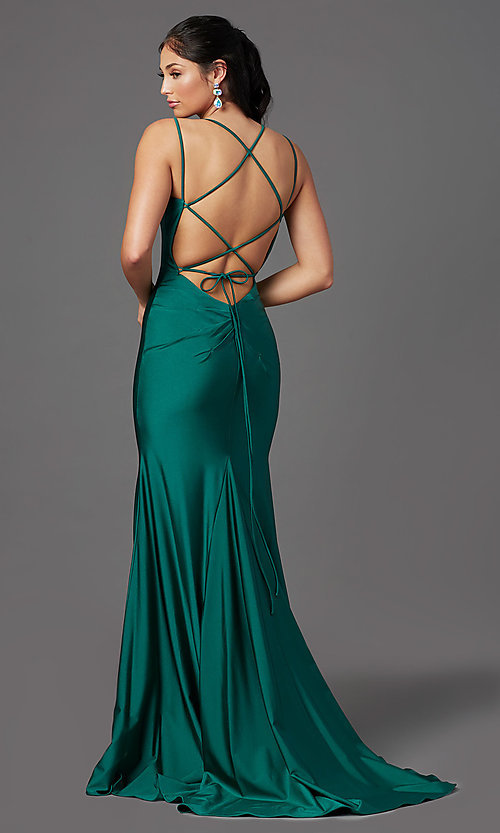 Image of long prom dress with corset open back. Style: NA-C301 Detail Image 3