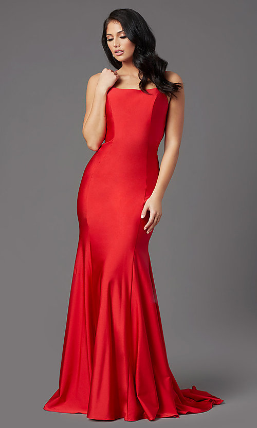 Image of long prom dress with corset open back. Style: NA-C301 Detail Image 4