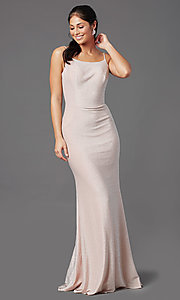 Image of rose pink long glitter prom dress with cowl back. Style: NA-C307 Front Image