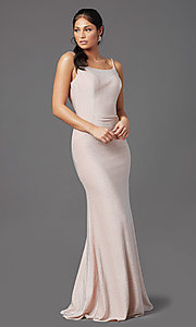 Image of rose pink long glitter prom dress with cowl back. Style: NA-C307 Detail Image 2