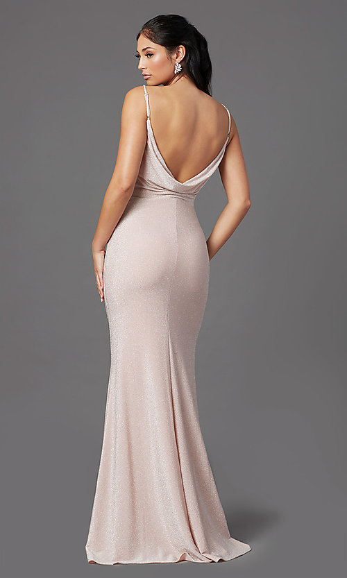 Image of rose pink long glitter prom dress with cowl back. Style: NA-C307 Back Image