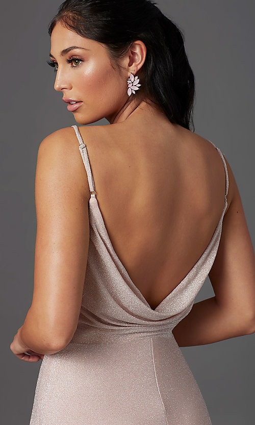 Image of rose pink long glitter prom dress with cowl back. Style: NA-C307 Detail Image 1