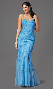 Image of lace-embroidered long blue prom dress with corset. Style: NA-D321 Front Image