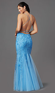 Image of lace-embroidered long blue prom dress with corset. Style: NA-D321 Back Image