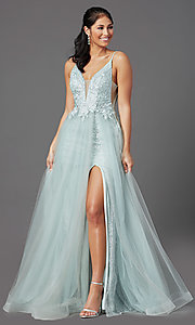 Image of sage green long formal prom dress with beading. Style: NA-E367 Front Image