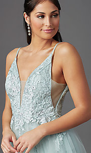 Image of sage green long formal prom dress with beading. Style: NA-E367 Detail Image 1