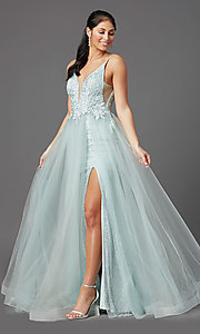 Image of sage green long formal prom dress with beading. Style: NA-E367 Detail Image 2