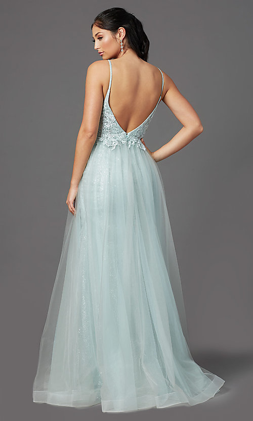 Image of sage green long formal prom dress with beading. Style: NA-E367 Back Image