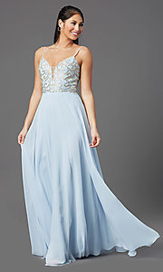 Image of long blue chiffon prom dress with embroidery. Style: NA-L343 Front Image