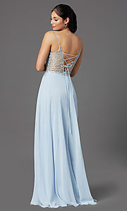 Image of long blue chiffon prom dress with embroidery. Style: NA-L343 Back Image