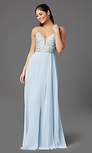 Image of long blue chiffon prom dress with embroidery. Style: NA-L343 Detail Image 2