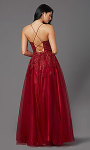 Image of burgundy long formal prom dress with corset back. Style: NA-R351 Back Image