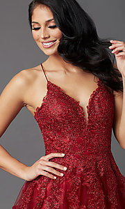Image of burgundy long formal prom dress with corset back. Style: NA-R351 Detail Image 1