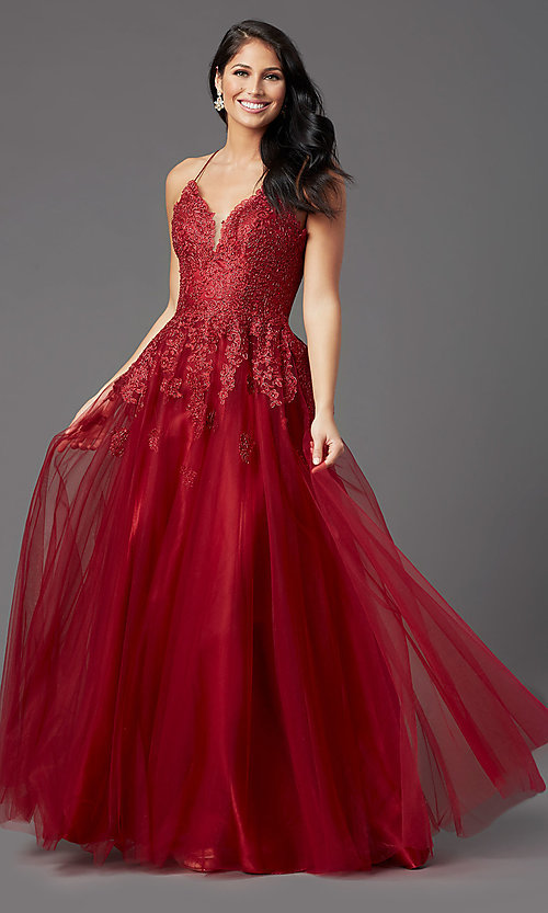 Image of burgundy long formal prom dress with corset back. Style: NA-R351 Front Image