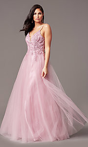 Image of long tulle embroidered-bodice formal prom dress. Style: NA-R357 Detail Image 6