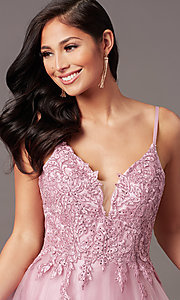 Image of long tulle embroidered-bodice formal prom dress. Style: NA-R357 Detail Image 8