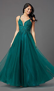 Image of long tulle embroidered-bodice formal prom dress. Style: NA-R357 Detail Image 2