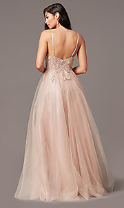 Image of long tulle embroidered-bodice formal prom dress. Style: NA-R357 Detail Image 4