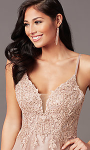 Image of long tulle embroidered-bodice formal prom dress. Style: NA-R357 Detail Image 5