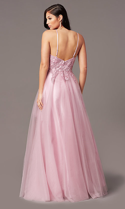 Image of long tulle embroidered-bodice formal prom dress. Style: NA-R357 Detail Image 7