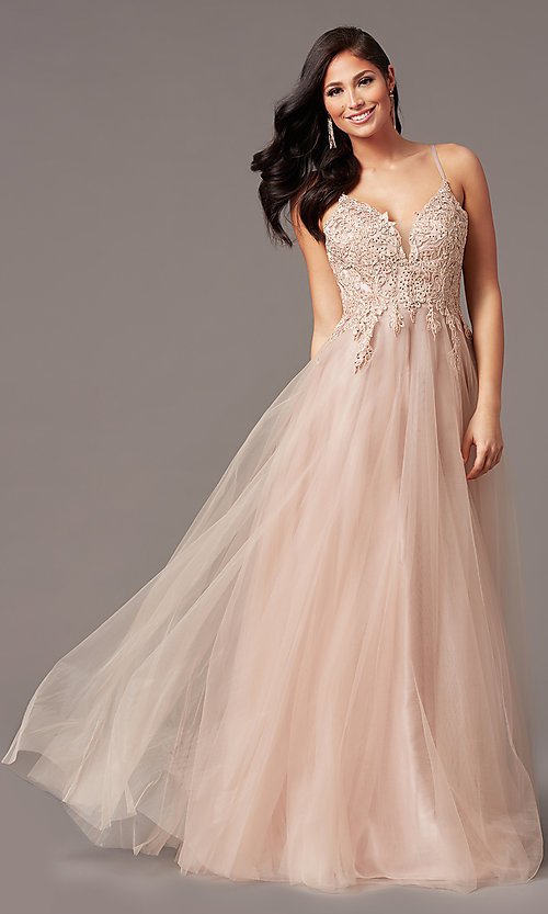 Image of long tulle embroidered-bodice formal prom dress. Style: NA-R357 Front Image