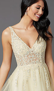 Image of long lemon yellow tulle prom dress with embroidery. Style: NA-G390 Detail Image 1