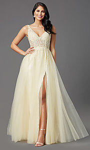 Image of long lemon yellow tulle prom dress with embroidery. Style: NA-G390 Detail Image 2