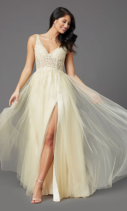Image of long lemon yellow tulle prom dress with embroidery. Style: NA-G390 Front Image
