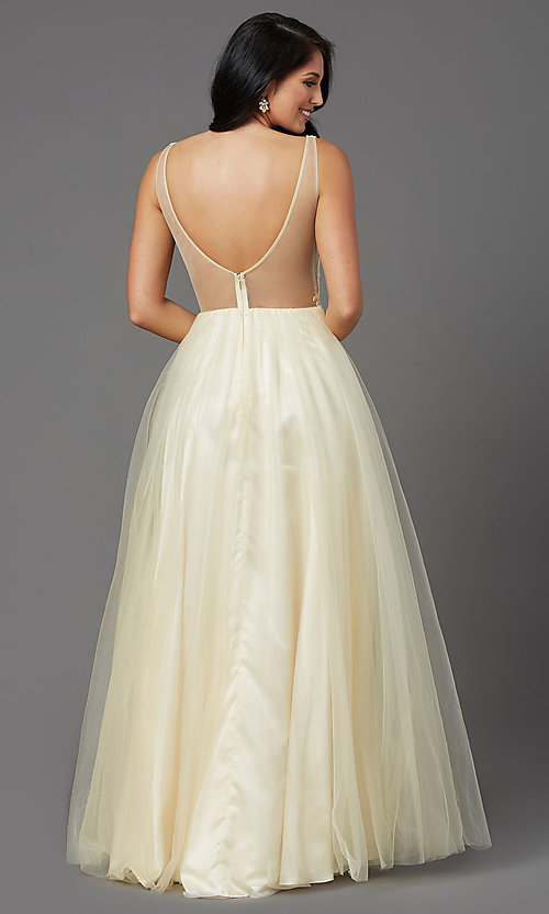 Image of long lemon yellow tulle prom dress with embroidery. Style: NA-G390 Back Image
