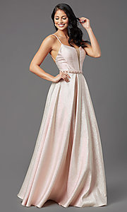 Image of metallic satin long prom dress with box pleats. Style: NA-M271 Detail Image 1