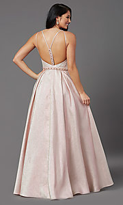Image of metallic satin long prom dress with box pleats. Style: NA-M271 Back Image