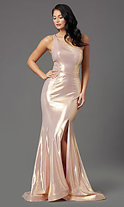Image of one-shoulder long metallic spandex prom dress. Style: NA-M327 Front Image