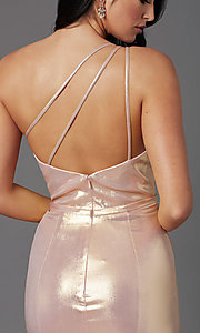 Image of one-shoulder long metallic spandex prom dress. Style: NA-M327 Detail Image 2