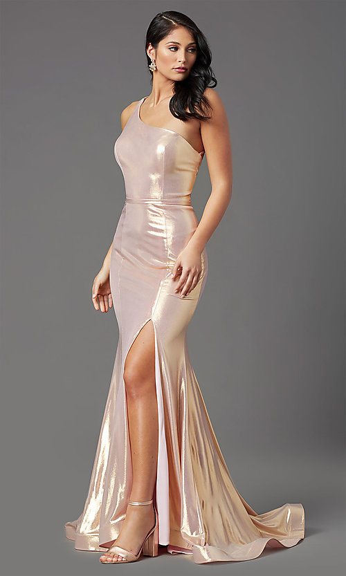 Image of one-shoulder long metallic spandex prom dress. Style: NA-M327 Detail Image 1