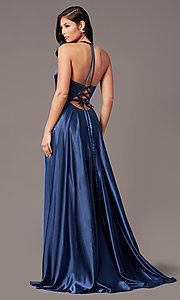 Image of faux-wrap long satin corset prom dress by PromGirl. Style: NA-PL-C209 Detail Image 4