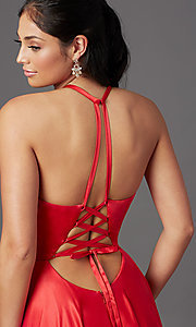 Image of faux-wrap long satin corset prom dress by PromGirl. Style: NA-PL-C209 Detail Image 1