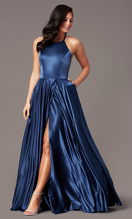 Image of faux-wrap long satin corset prom dress by PromGirl. Style: NA-PL-C209 Detail Image 3