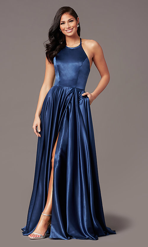 Image of faux-wrap long satin corset prom dress by PromGirl. Style: NA-PL-C209 Detail Image 6