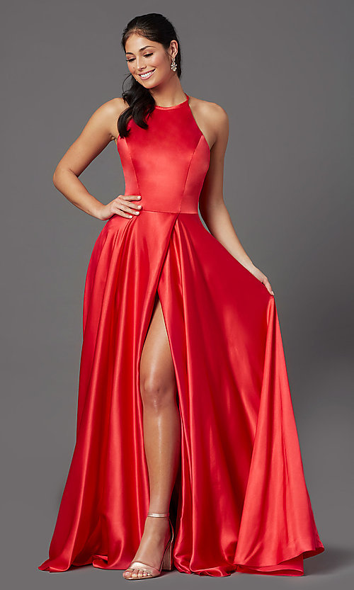 Image of faux-wrap long satin corset prom dress by PromGirl. Style: NA-PL-C209 Front Image