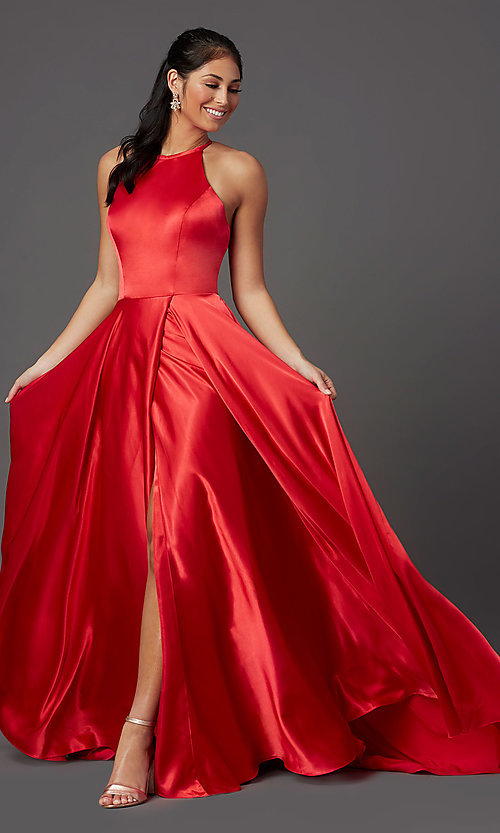 Image of faux-wrap long satin corset prom dress by PromGirl. Style: NA-PL-C209 Detail Image 2