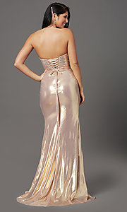 Image of long strapless faux-wrap prom dress. Style: FB-GL2894 Detail Image 4