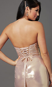 Image of long strapless faux-wrap prom dress. Style: FB-GL2894 Detail Image 5