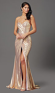 Image of long strapless faux-wrap prom dress. Style: FB-GL2894 Detail Image 6