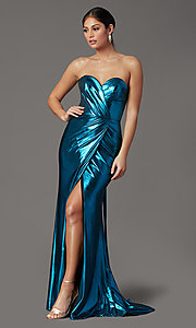 Image of long strapless faux-wrap prom dress. Style: FB-GL2894 Front Image