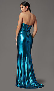 Image of long strapless faux-wrap prom dress. Style: FB-GL2894 Back Image
