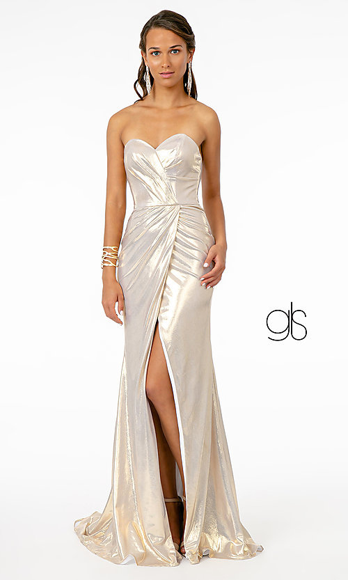 Image of long strapless faux-wrap prom dress. Style: FB-GL2894 Detail Image 7