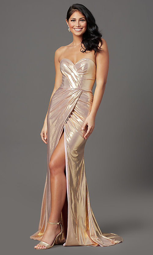 Image of long strapless faux-wrap prom dress. Style: FB-GL2894 Detail Image 3