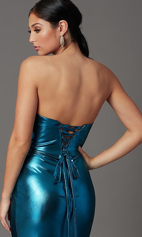 Image of long strapless faux-wrap prom dress. Style: FB-GL2894 Detail Image 1